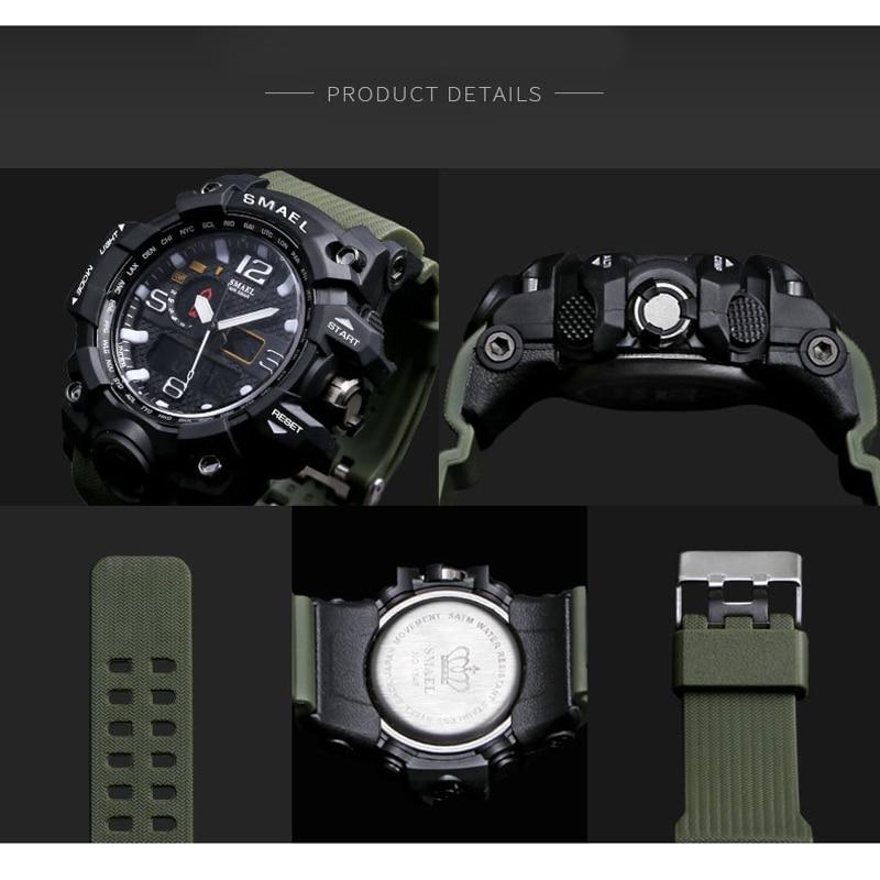 SMAEL Brand Men Sports Watches Dual Display Analog Digital LED Electronic Quartz Wristwatches Waterproof Swimming Military Watch