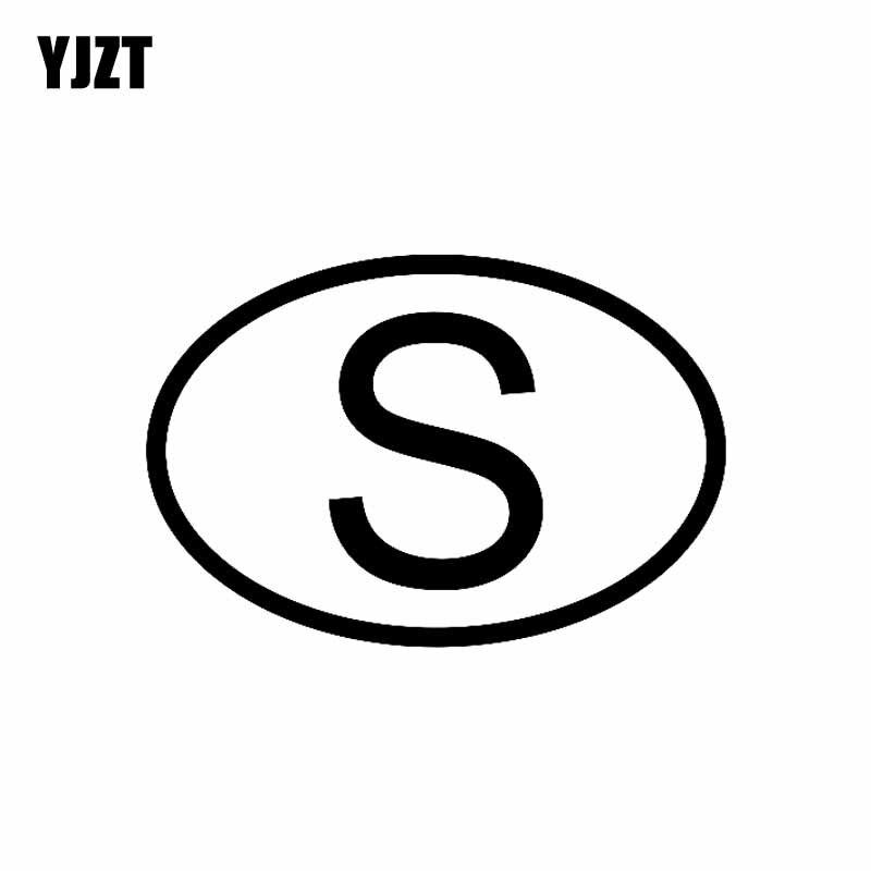 YJZT 14,1 CM * 9,5 CM S Suecia código de país Oval pegatina de vinilo negro plata C10-01286