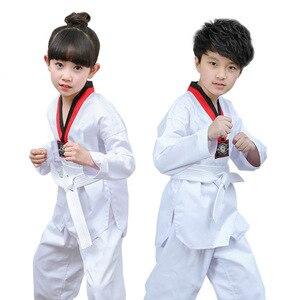 White Karate Cotton Taekwondo Dobok Stripe Uniform Clothes Professional Long-Sleeve Karate Suit Poomsae for Child and Adult T15