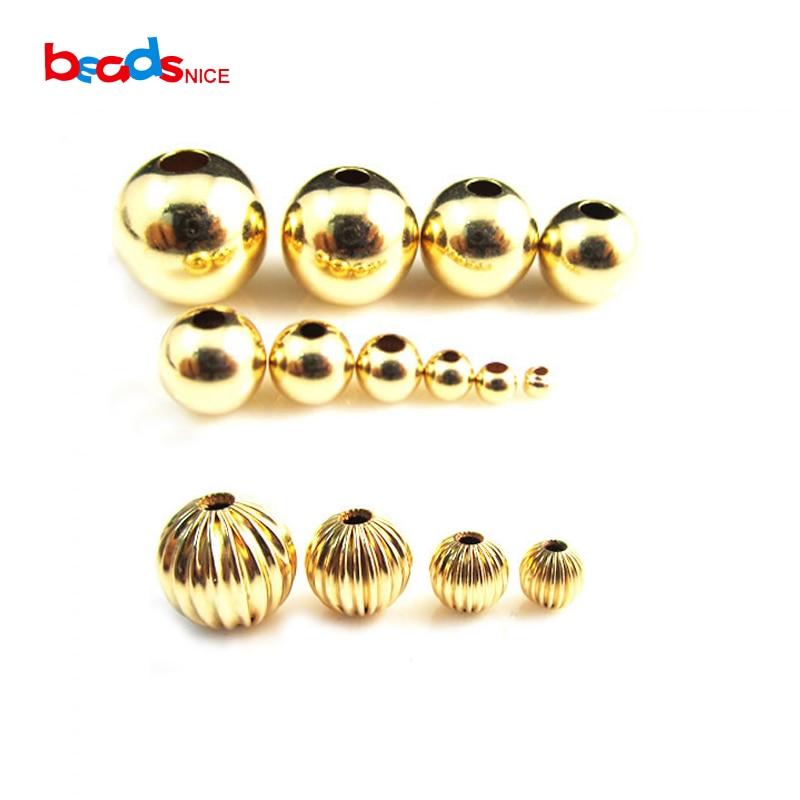 Beadsnice ID26093smt2 14K Gold Filled Conta Redonda Lisa Sem Emenda Tamanho Muitos A Escolher para Colar Pulseira Jóias Fazer