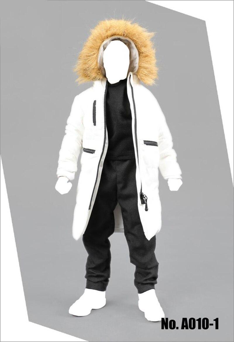 A010 1/6 abrigo largo de algodón de invierno para hombre con pantalones y camiseta conjunto modelos para 12 pulgadas figuras de acción cuerpos Accesorios y Negro Whi