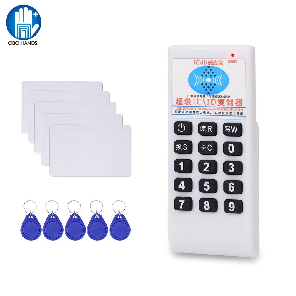 Handheld 125KHz / 13.56MHz RFID Copier Duplicator Card Reader Writer ID IC T5577 UID Wriable Keyfob NFC Programmer Rewritable