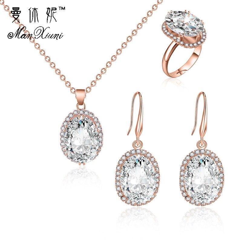 2018 parure bijoux femme moda conjuntos de jóias cúbicos zircon instrução colar & brincos anéis jóias de casamento para presente feminino