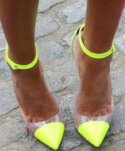 Ladies Fashion Neon High Heel Transparent PVC Patchwork Women Ankle Buckles Pumps Sexy Party Shoes Female Spring Dress Shoe