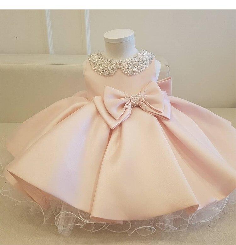 Vestido de bebé en capas de tul con lazo con cuentas vestidos de bautismo para niña recién nacida 1 año de cumpleaños ropa para niños pequeños vestido de baile de bautizo para niños