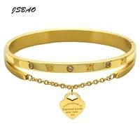 jsbao hight quality stainless steel bracelet bangle heart love tag bracelet jewelry for women luxury brand jewelry