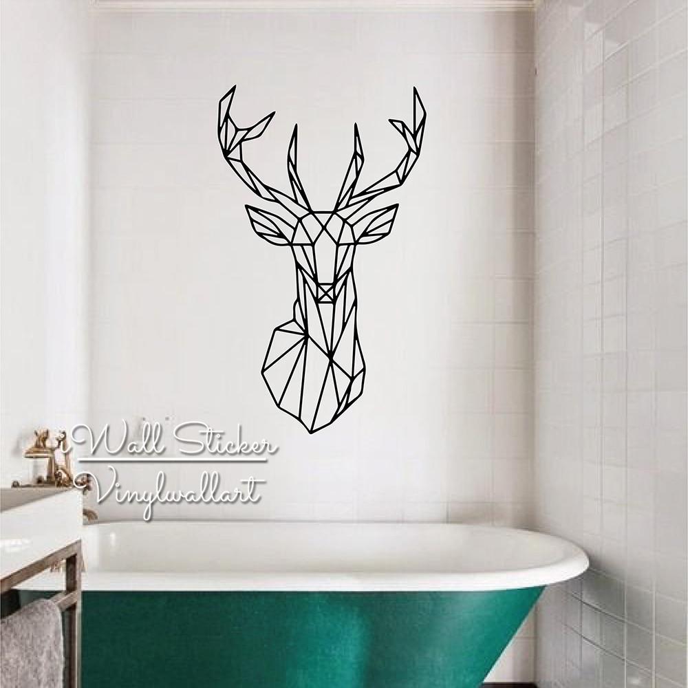 Moderno adhesivo para pared con forma de venado diseño geométrico de ciervo pared calcomanías salón decoraciones DIY fácil pared arte extraíble papel pintado de vinilo de corte M70