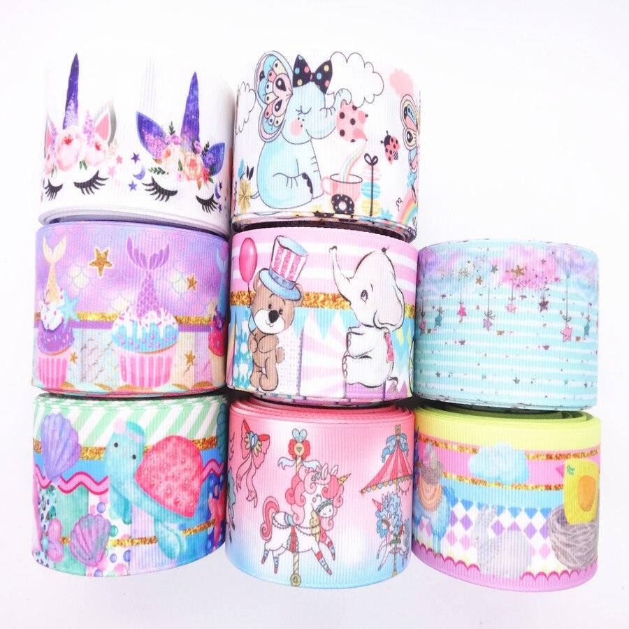 Лента для поделок, 5 ярдов, 1 дюйм, 25 мм, 1,5 дюйма, 38 мм, с принтом животных/тортов, для поделок, сделай сам, украшения для волос на день рождения, MD19031103