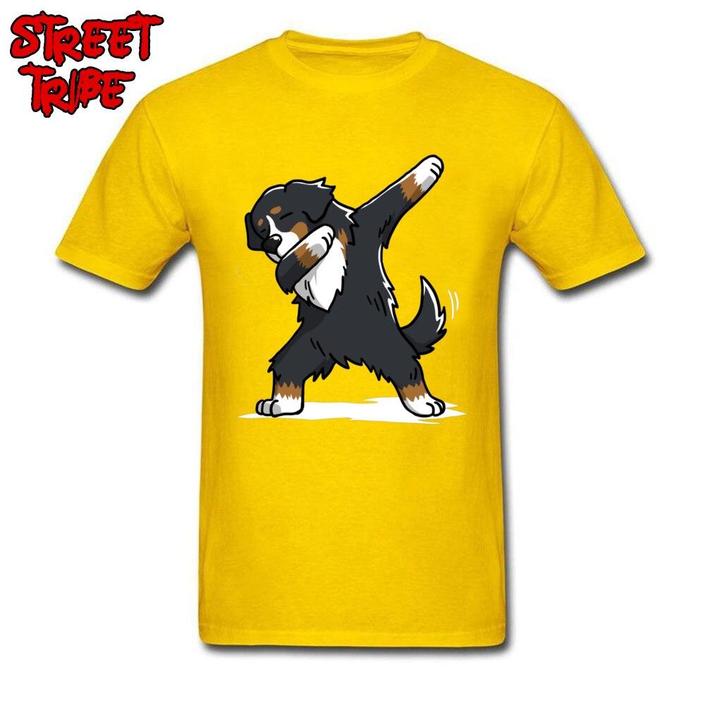 Camiseta de moda para hombre, camiseta amarilla para hombre, camisetas locas para hombre, camisetas divertidas con estampado de perro de montaña Bernés, camisetas de algodón para adultos