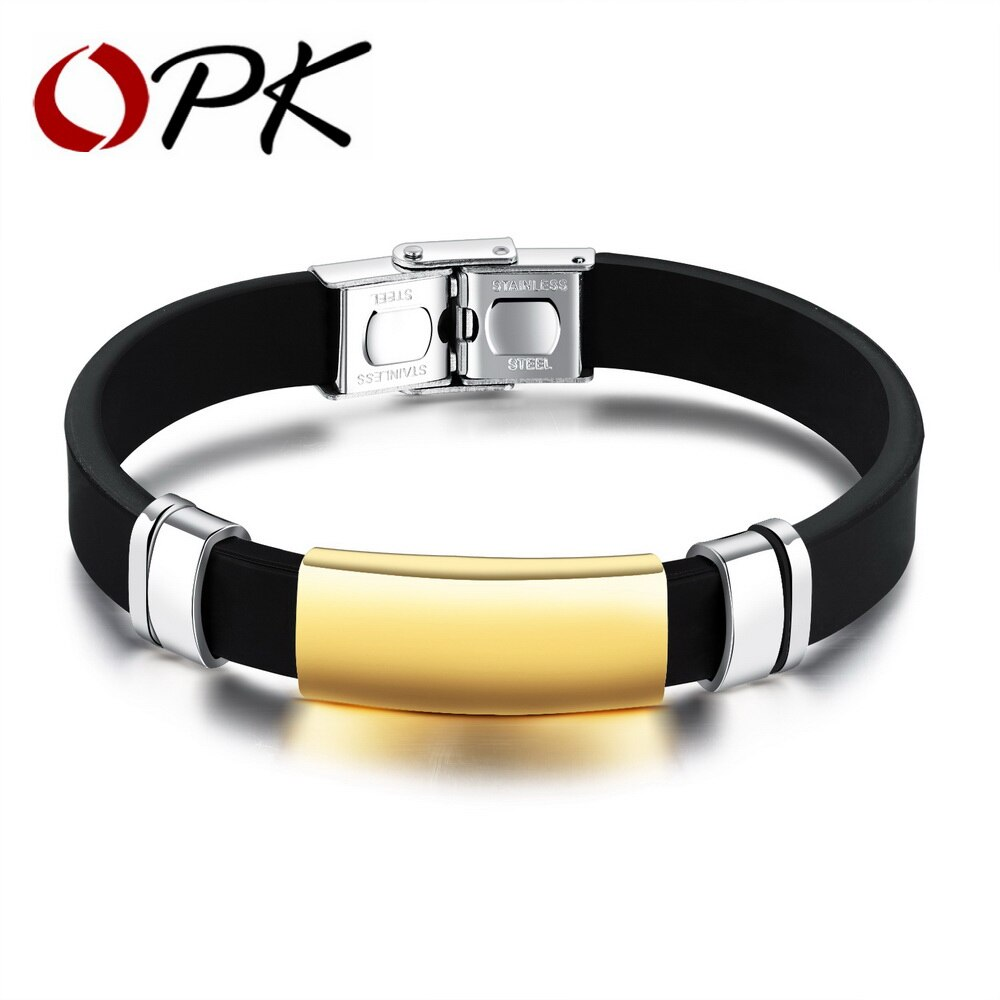 OPK Sport Men's Silicone Bracelets Smooth Design Black / Champagne Gold Color 10 MM Width Length Adjustable Male Gift  PH1157