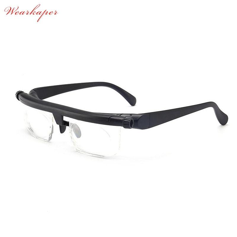 Lentes de lectura ajustables de enfoque de visión, gafas para miopía, A + 6D 3D, lentes variables, corrección Binocular, Porta gafas de aumento