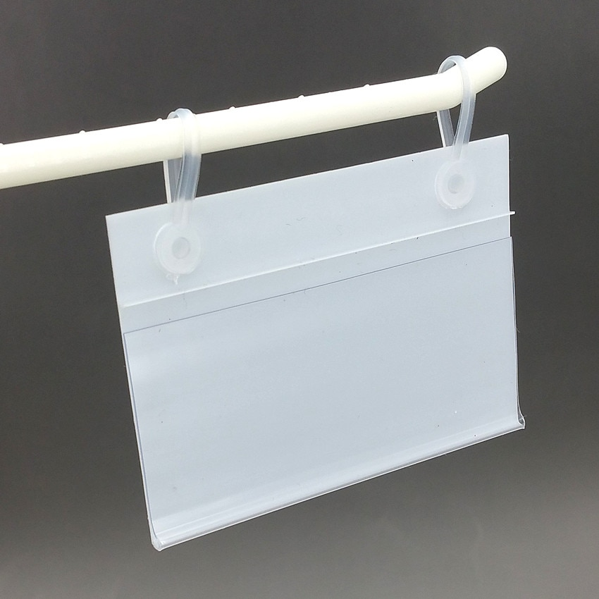80x55mm PVC Plastic Price Tag Card Label Display Holders Promotion Clips By Hanging Buckles on Mesh Rack Basket Shelf 1000pcs
