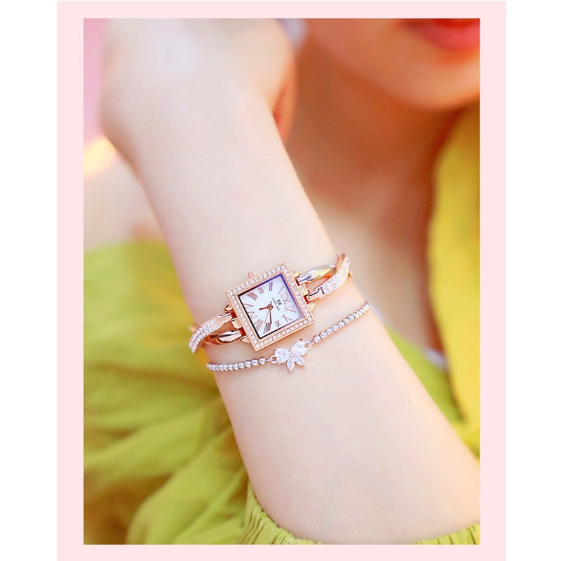 Women's Quartz Watch Silver Square New Hot Sale High-end Link Watch Custom Full Rhinestone Cross Chain  Watch enlarge