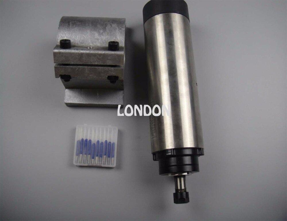 CNC spindle kit ER11 diameter 65mm 220V 0.8KW air cooling spindle motor 4 bearing + spindle support+  cnc engraving bits