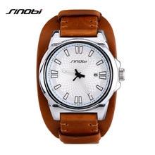 SINOBI Sports Men Wrist Watches for Luxury Brand Leather Watchband Males Casual Military Waterproof Quartz Clock Horloges Mannen