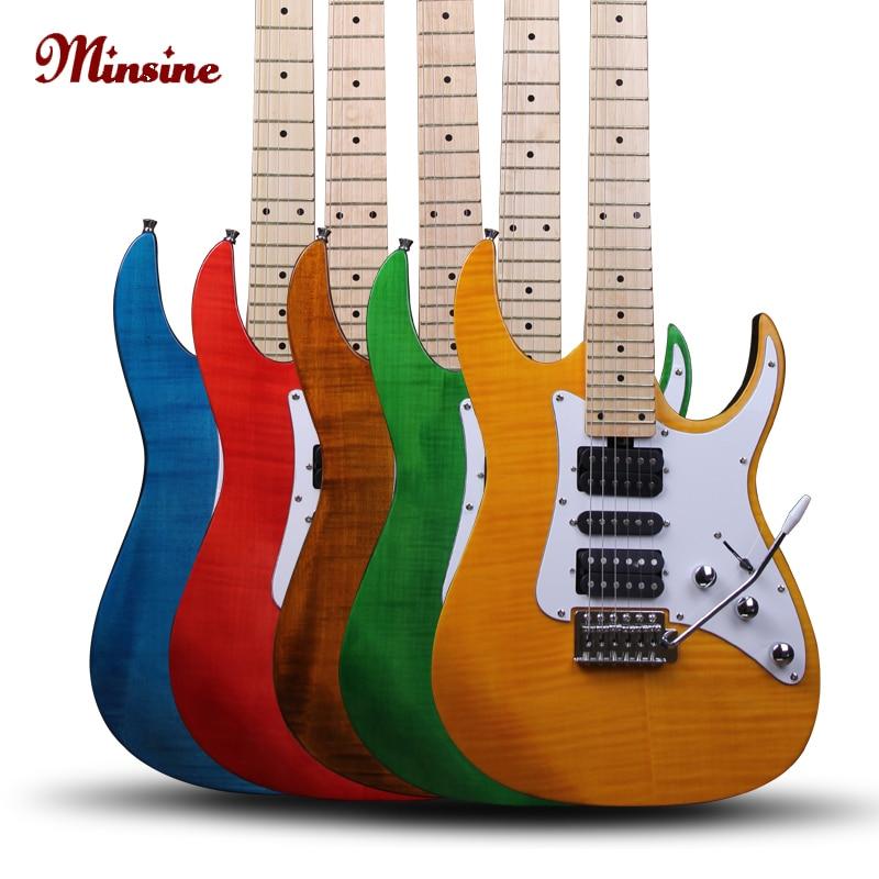 Minsine Genuína Guitarra Elétrica de Bordo fingerboard basswood back placa de suspensão magnética pickup totalmente fechado cordas twi
