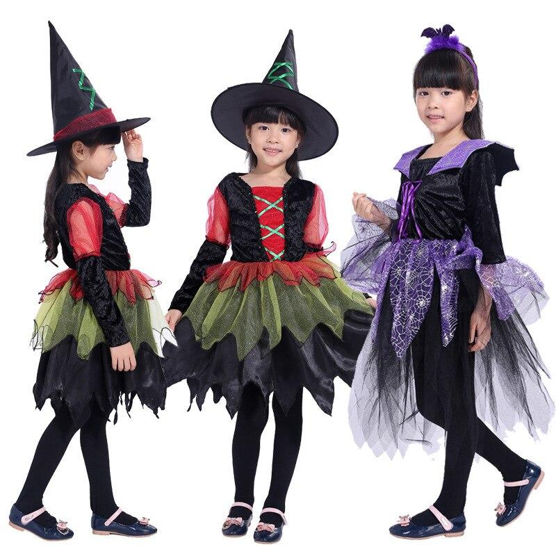 Страшный костюм ведьмы вампира Карнавальный для девочек Вечерние Нарядные