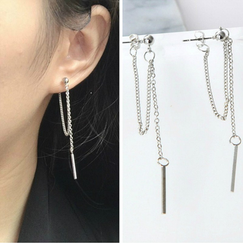 Versión coreana de joyería pendientes borla moda Retro pendientes largos cadena Metal textura pendientes al por mayor gota pendientes