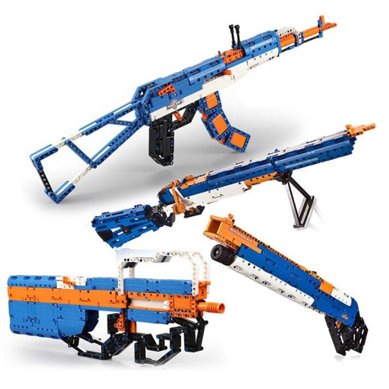Gun Weapons P90 DIY Toy Gun For Boy Militaryed Building Gun SWAT Model Assembled Bricks Blocks Boys Birthday Gift Building Block