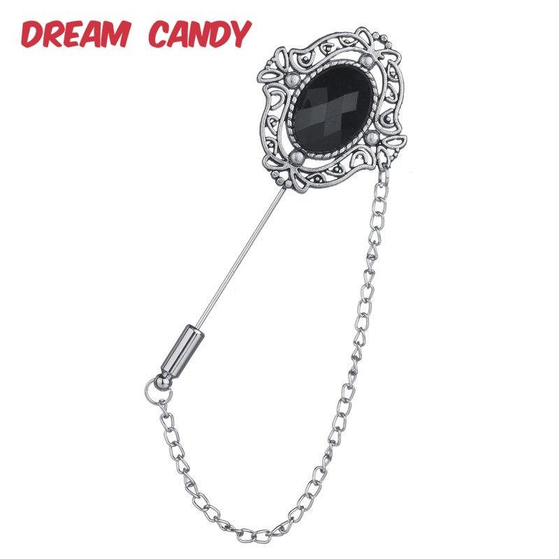 Dream Candy Vintage broches de flores de Metal para mujeres negro resina hombres joyería Pin traje accesorios borla creativa broche gran venta