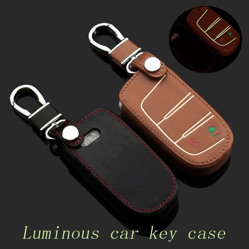 Genuíno Chaveiro De Couro Do Carro Chave do Caso Fob Capa para Dodge Journey 2 Botão Inteligente Chave Titular Cadeia Chave Do Carro Anéis auto Acessórios