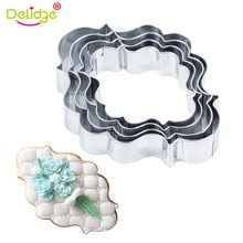 Delidge 4 stks/set 8 Stijlen Cookie Cutter Mold 3D Rvs Fondant Gebak Biscuit Fondant Taart Bakvorm