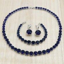 Classique rond bleu Royal cristal argent bijoux ensembles pour femmes boucles doreilles collier Bracelet cadeau danniversaire