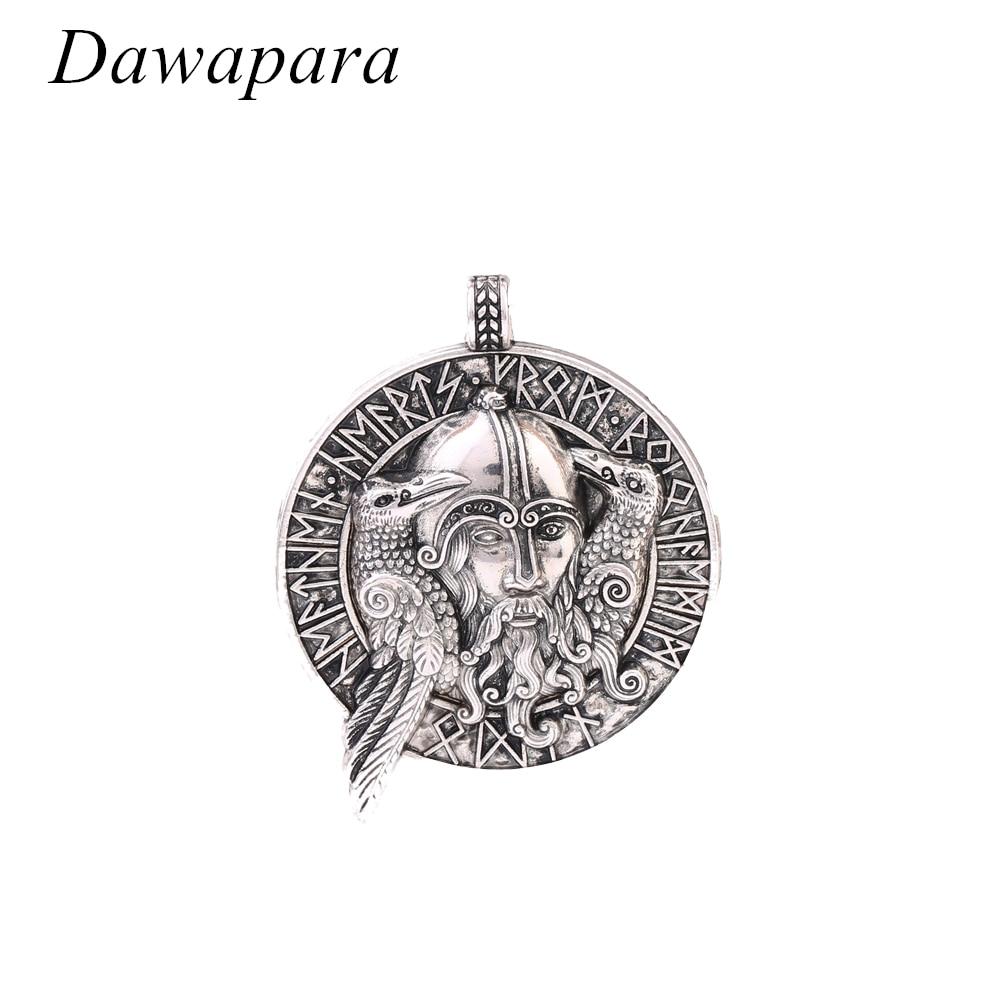 Collares de monedas Dawapara con figura de Odin y dos abalorios y pendientes con patrón de cuervo Vintage nórdico vikingo joyería para hombres