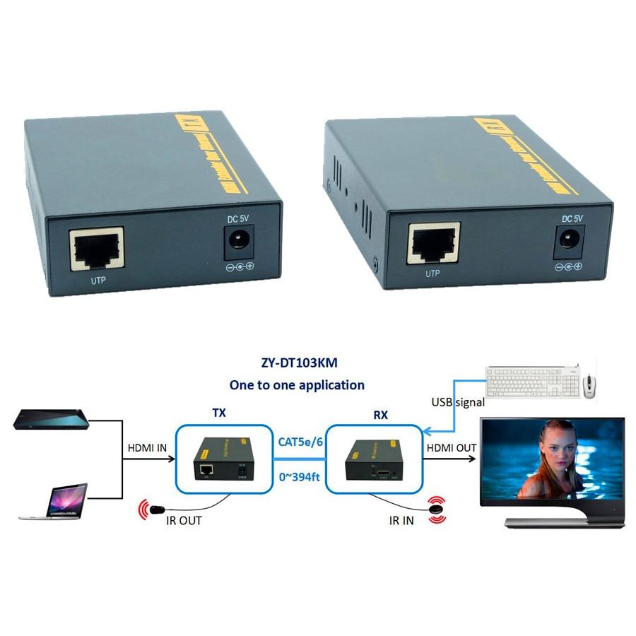 ZY-DT103KM HDMI USB KVM IR по IP Сетевой удлинитель 394ft 1080P HDMI клавиатура мышь KVM Extensor 120m через кабель RJ45 CAT5e CAT6