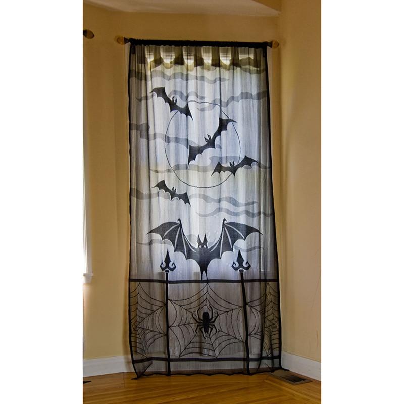 1/2 Uds Halloween cortina de encaje para ventana tela de araña negra murciélagos decoración de festival para el hogar cortinas de puerta RT99