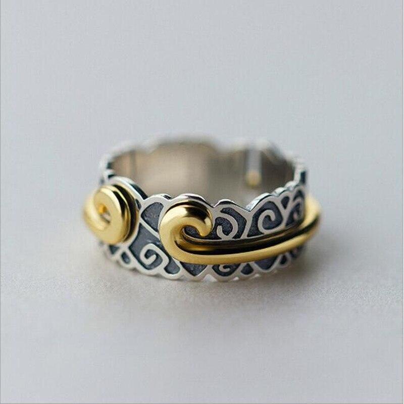 Personalidad temperamento exquisito 925 Plata de Ley joyería de plata Thai maldición femenina apretado aro rima nubes anillos SR240