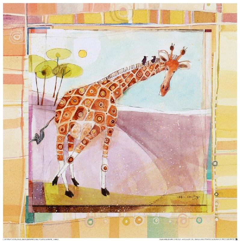 GRAN IMAGEN de pintura impresa envío gratis pinturas de la jirafa de África pinturas al óleo para la sala de estar de los niños