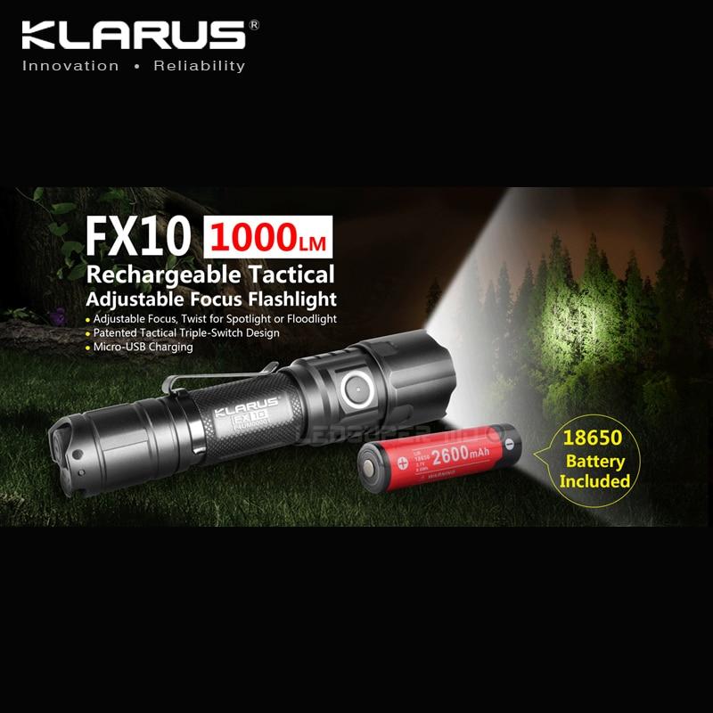 KLARUS FX10 1000 люменов Micro-USB Перезаряжаемый Тактический Регулируемый фокус фонарик с батареей 18650