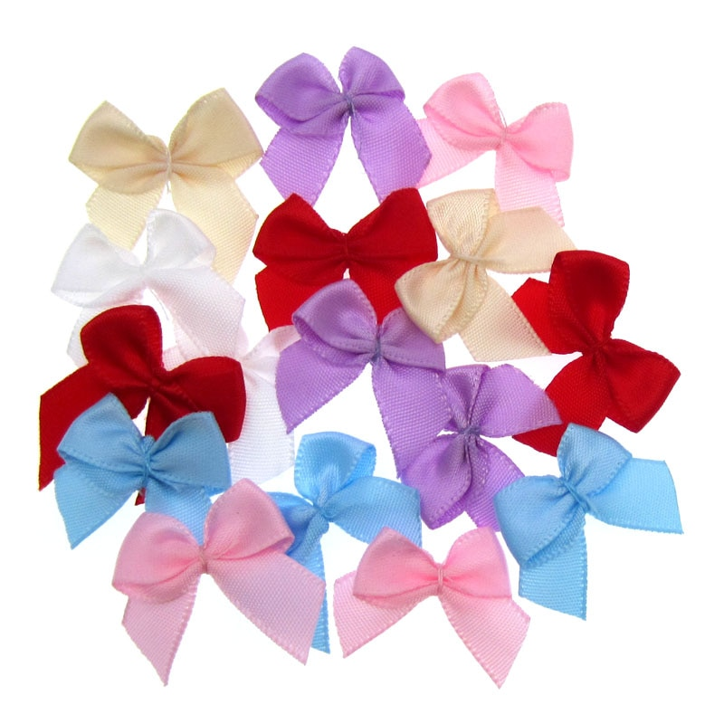 "100pcs Handmade Mini Satin Ribbon Flowers Bows Ribbon Bowknot For Packaging Craft Wedding Decoration 3/8"""