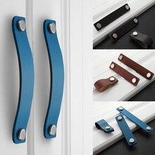 Handgemaakte Lederen Pull Handle Europa Stijl Zachte Minimalistische Deur Kast Lade Keukenkast Dresser Knoppen Meubilair Hardware
