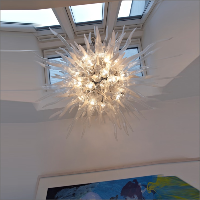 Montura de lámparas colgantes moderna de Arte de Estilo de primavera, lámpara de araña moderna de cristal de borosilicato soplado para techo
