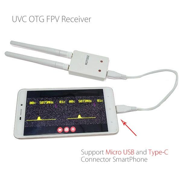 ROTG02 UVC OTG 5,8G 150CH la diversidad de Audio del receptor FPV para Android Tablet Smartphone para Micro USB y tipo-C conector