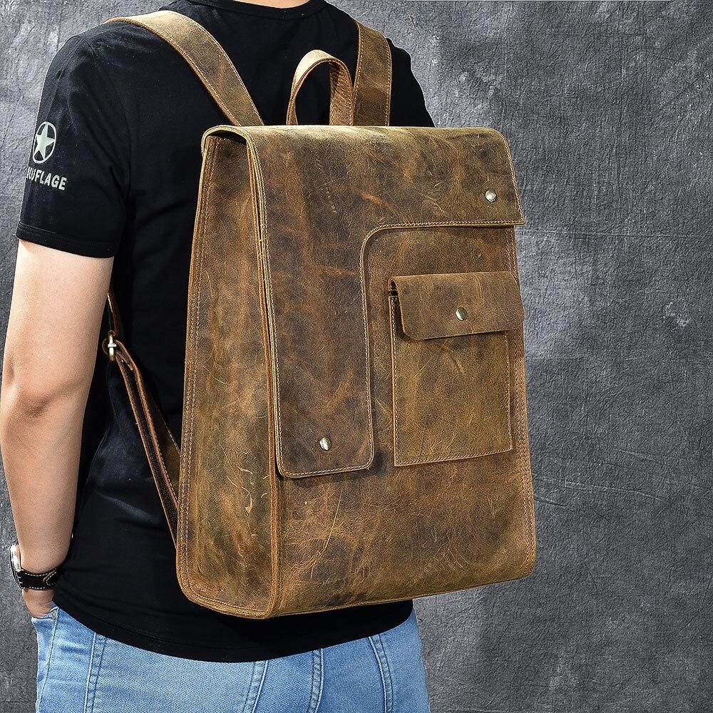 Mochila clásica de cuero genuino con diseño de Caballo Loco, mochila escolar para adolescentes, mochila escolar para mujer, bolsa de hombre