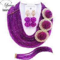 brand laanc african beads purple jewelry set nigerian wedding necklace bridal jewelry sets 10r3h019