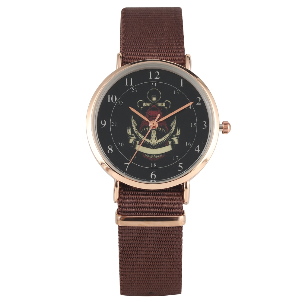 Women's Watch Nylon Strap Wristwatch for Lady Charming Shark Anchor Pattern Quartz Watch