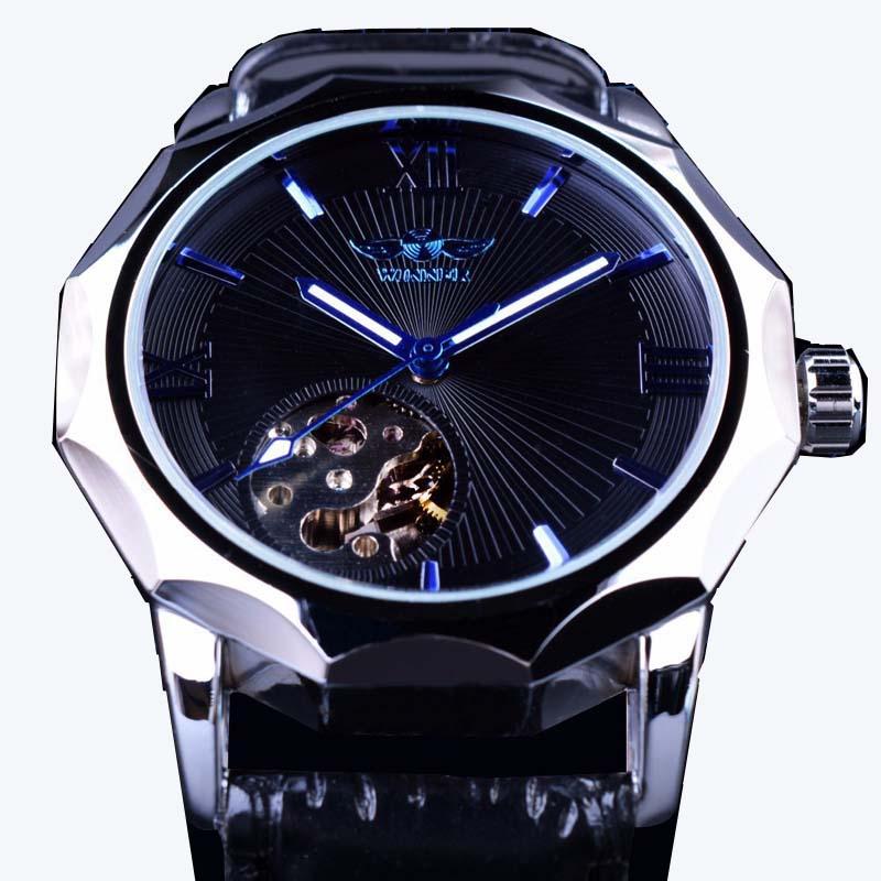 2019 de moda de la marca ganador Océano Azul Diseño de geometría mecanismo a la vista transparente Dial reloj de lujo mecánico automático reloj
