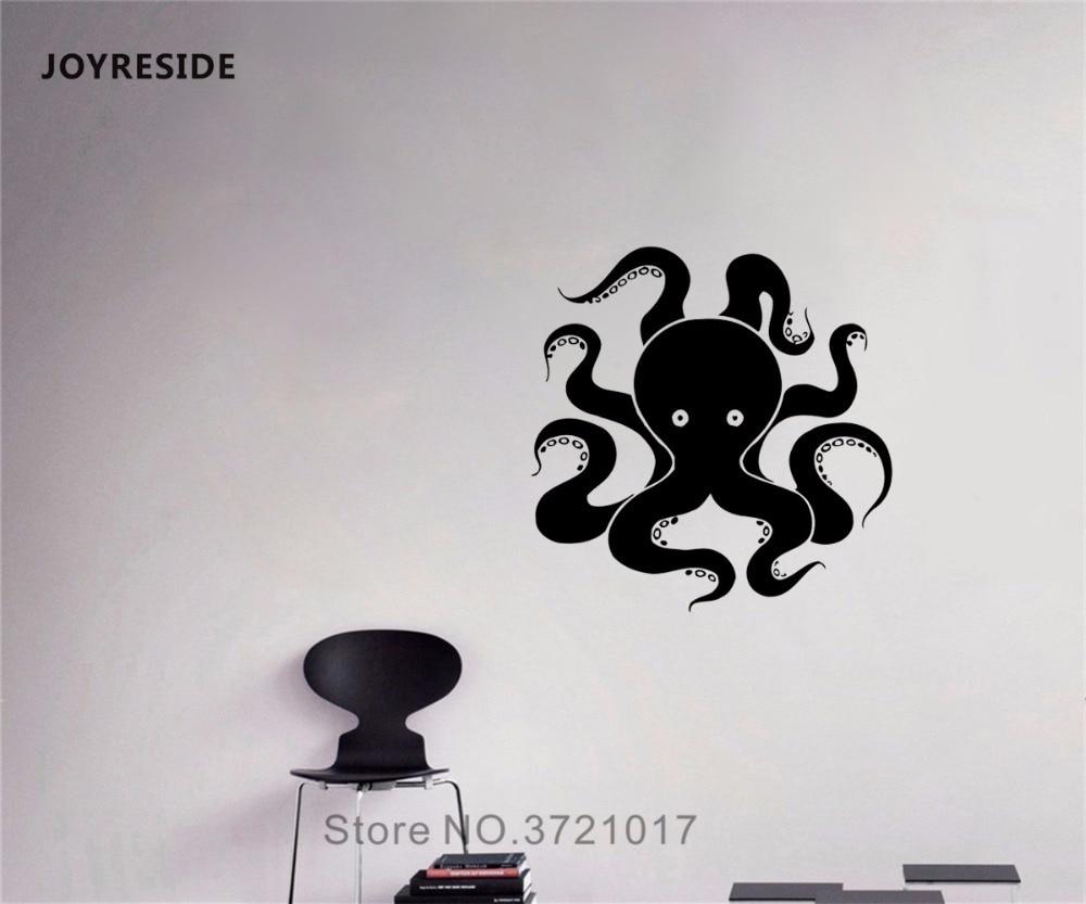 Pegatinas de vinilo joyresin Octopu para pared, tentáculos de animales marinos, arte, decoración Interior, dormitorio, sala de estar, murales de baño para el hogar A235