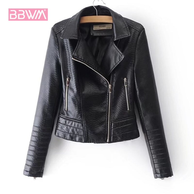 New womens fashion snake zipper PU suit collar slim slimming locomotive female jacket coat tide black