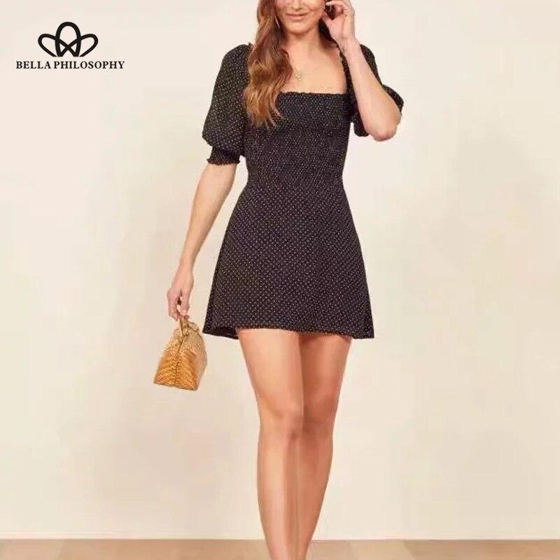 Bella philosophy mujer moda A-line dot vestido ladiea mini cintura alta Francia stlye Vestido Mujer vintage casual vestido