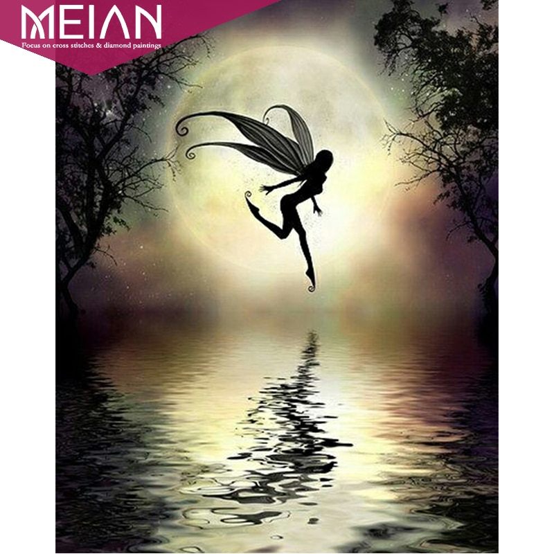 Meian, Хэллоуин, черная фея, Алмазная мозаика, домашняя Алмазная картина, вышивка крестиком, алмазная вышивка, узоры, стразы, искусство, Новинка