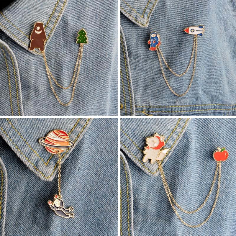 NEW Creative brooches pilot bear Planet brooch Enamel pendants pin botton t-shirt collar brooch Jewelry bag hat accessories gift