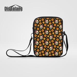 Dispalang Women Messenger Bags Skull Print Crossbody Bag Portable Small Mens Shoulder Bag Kids Fashionable Zipper School Bag