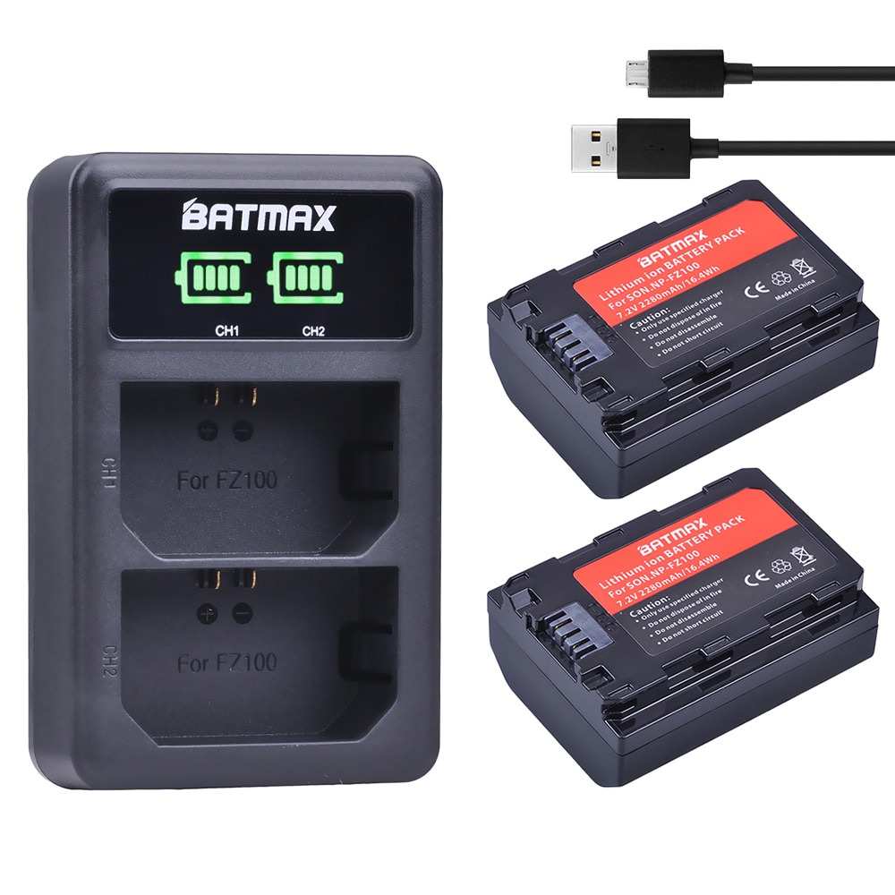 2 шт. 2280 мАч NP-FZ100 NPFZ100 NP FZ100 батарея + LED двойное зарядное устройство USB для Sony NP-FZ100, BC-QZ1, Sony a9, a7R III, a7 III,A6600