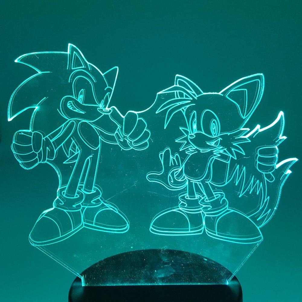 Sonic The Hedgehog Action Figure Sonic Miles 3D Nachtlicht Visuelle Illusion LED RGB Ändern Lampe Sonic Modell Spielzeug Puppe