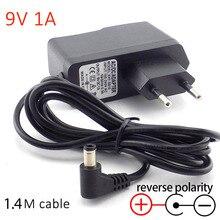 Adaptateur dalimentation AC 9V 1A 1000ma   Prise dalimentation, chargeur négatif, polarité inversée, convertisseur 100V-240V, adaptateur ue 5.5mm x 2.5mm